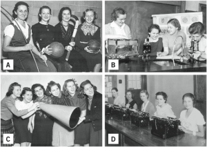 Photos provided by Mount Mary College archives These photos are some of the images the Program Activities Council plans to recreate.  A. Athletics, 1933. B. Biology Lab, 1938. C. Megaphone, 1944. D. Secretarial Science  Class, 1934. The PAC is seeking students to be photographed in the recreated photos.