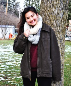 Ana Mercado shows off the Infinity scarf which is trending this holiday season.