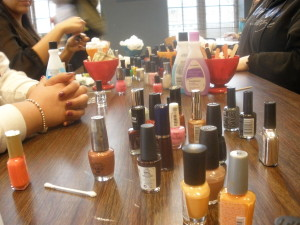 Mount Mary's Commuter Lounge transformed into a spa for the day which included a nail bar.