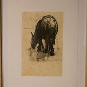 Domingo Eating - lithograph, hand color, and chine colle