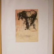 Domingo Waiting 1  - lithograph, hand color, relief, and chine colle