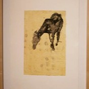 In the Field: Dominant Mare - lithograph, hand color, and chine colle