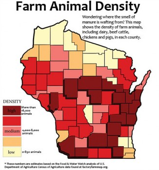 Map of Wisconsin showing density and locations factory farms